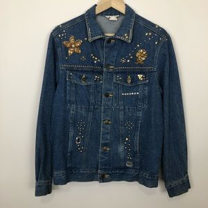 Vintage 80s bedazzled beaded denim jacket small